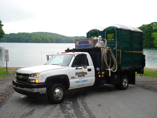 Septic Truck with Portable Toilets/Restrooms in Baltimore MD