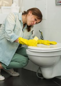 Young Woman Cleaning the Toilet