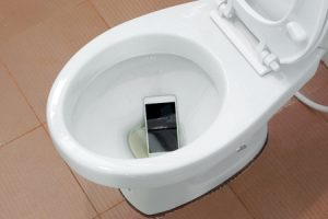 Flushing phone down toilet